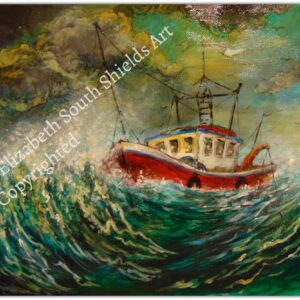 Life Boat Painting Storm Seas